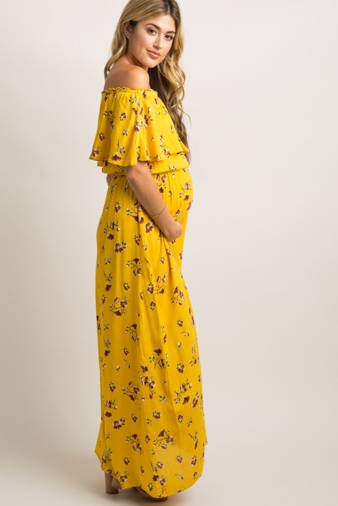 8d1ce16ab52 Yellow Floral Ruffle Off Shoulder Maternity Maxi Dress