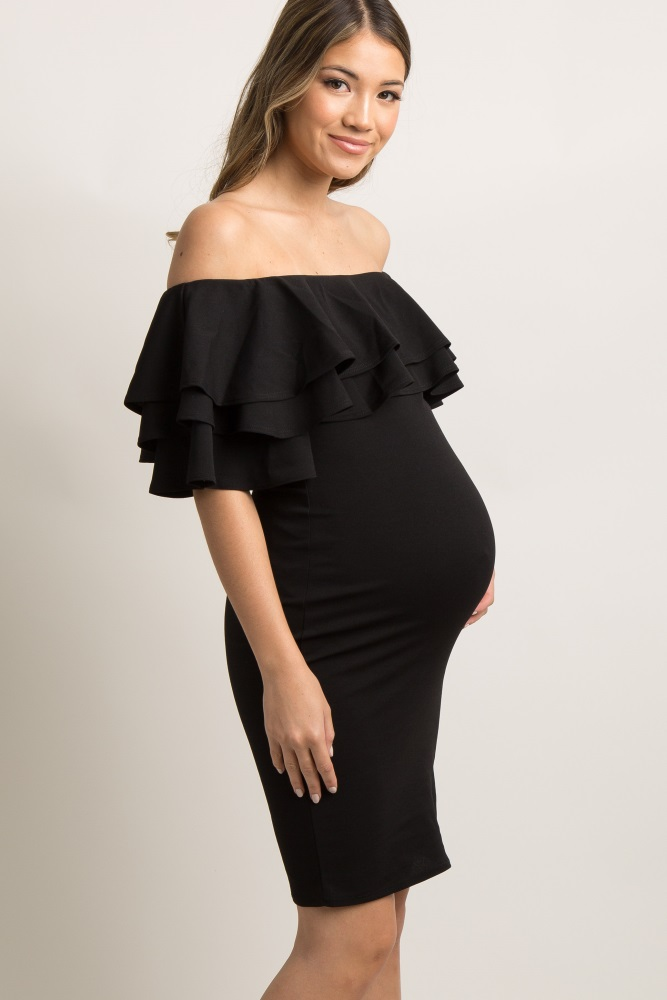 17f4b4054edbb Black Layered Ruffle Off Shoulder Fitted Maternity Dress