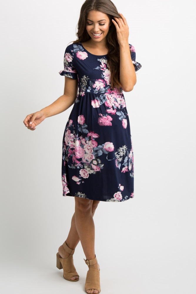 a78e646dc80f7 Navy Blue Floral Ruffle Sleeve Maternity Dress