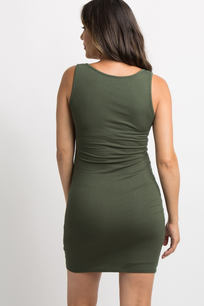 9dbc38b875 Olive Green Sleeveless Ribbed Fitted Maternity Dress