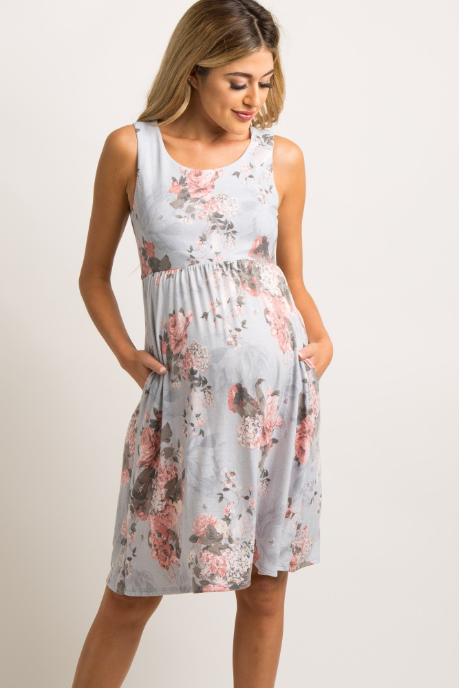 ab371cf30747f Light Grey Floral Sleeveless Maternity Dress