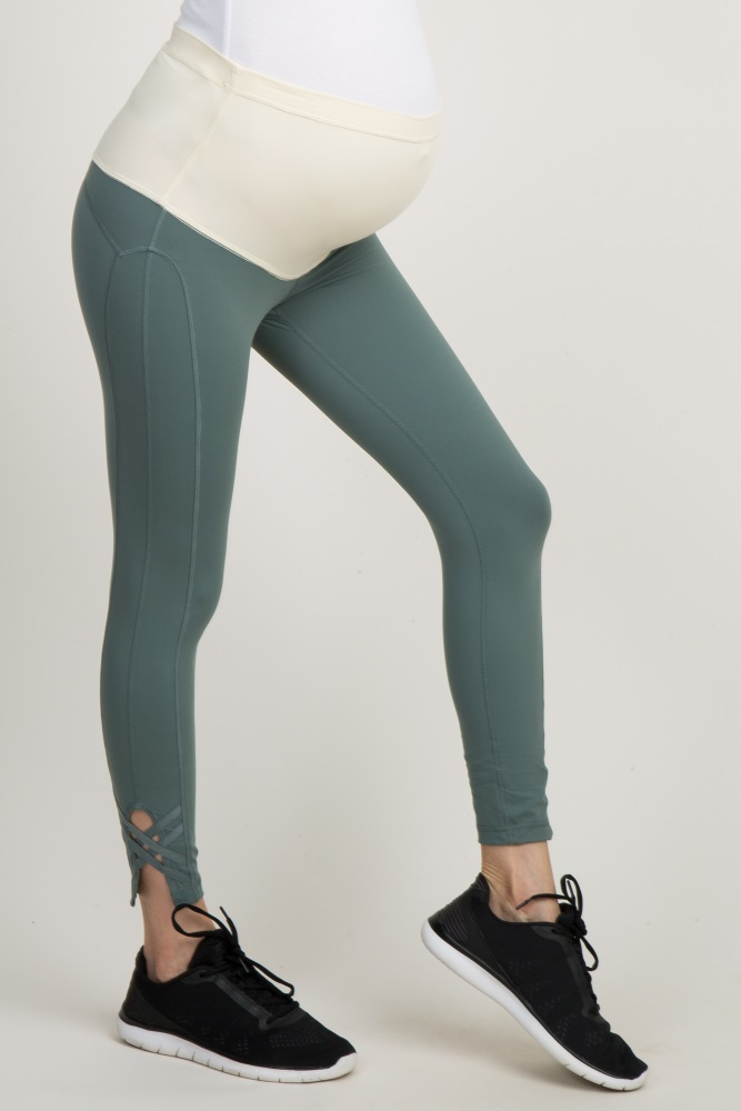 2ddda343a8f866 Sage Green Crisscross Cropped Active Maternity Leggings
