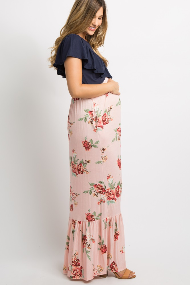 4ee1ee3e988e Pink Floral Colorblock Ruffle Accent Maternity Maxi Dress