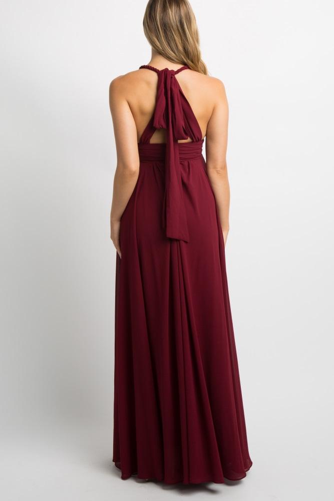 af1c8d0fbd3ba Burgundy Chiffon Halter Tie Back Maternity Evening Gown