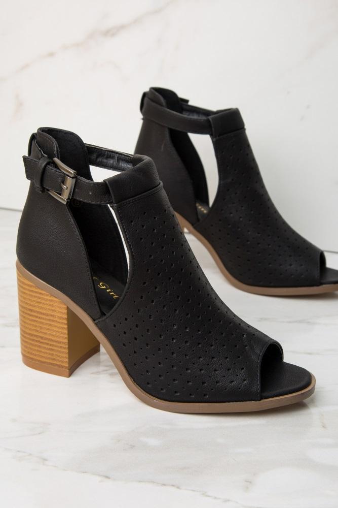 737d1434cf8 Black Faux Leather Cutout Block Heel Booties