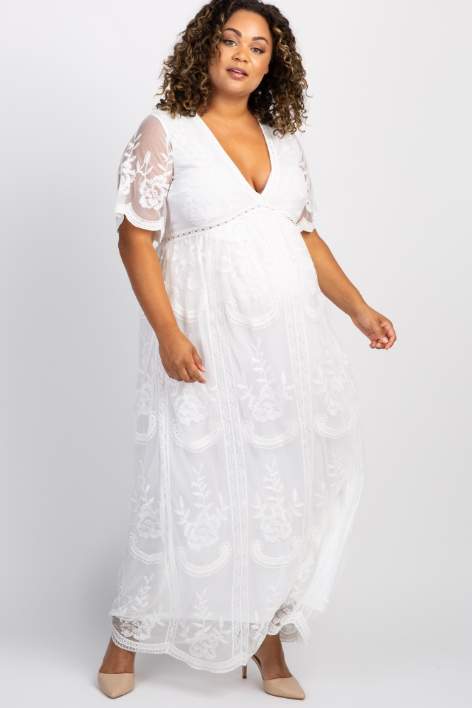 White Lace Mesh Overlay Plus Maternity Maxi Dress