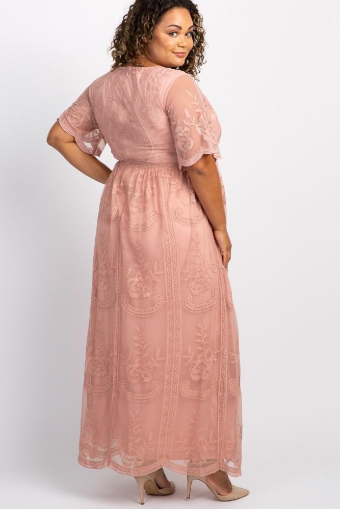 Light Pink Lace Mesh Overlay Plus Maternity Maxi Dress