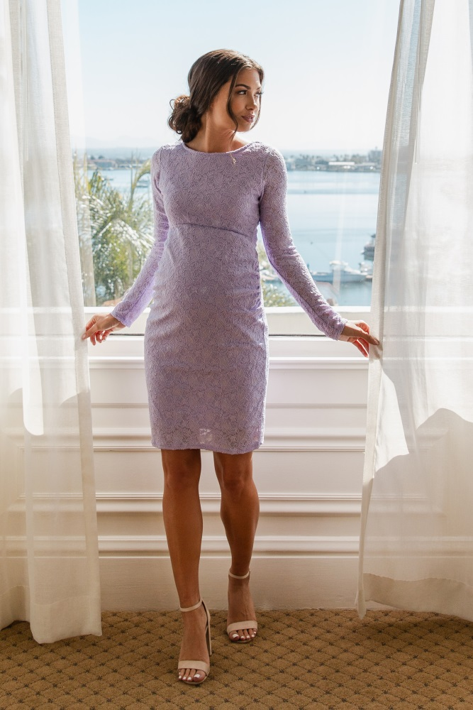 42bb7a6539 Lavender Lace Fitted Long Sleeve Maternity Dress