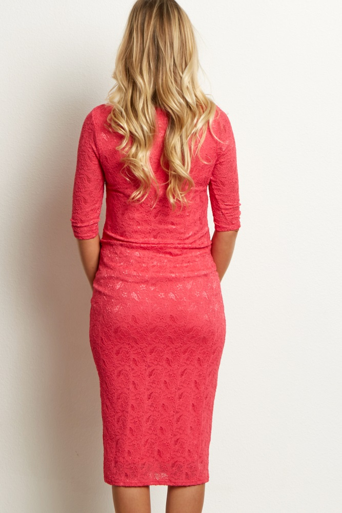 00f899315fd Fuchsia Lace Maternity Dress