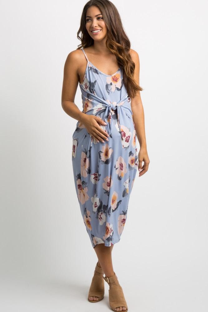 c49bd3f557a Light Blue Floral Knot Front Maternity Midi Dress