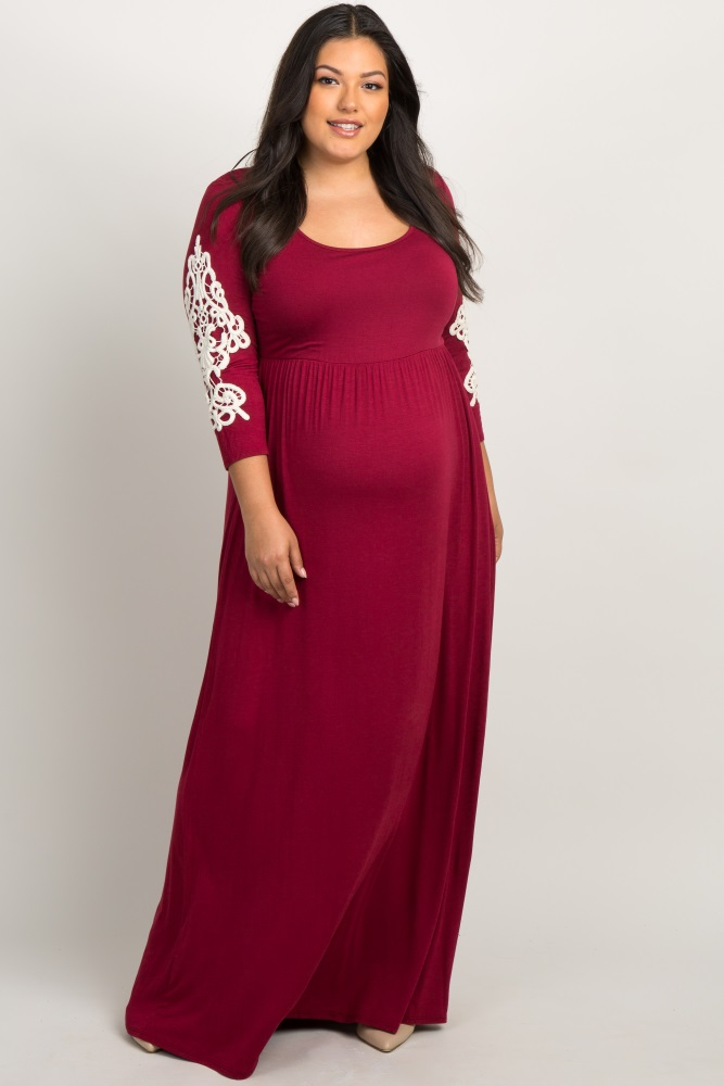 241b2a43a8a14 Burgundy Crochet Sleeve Plus Maternity Maxi Dress