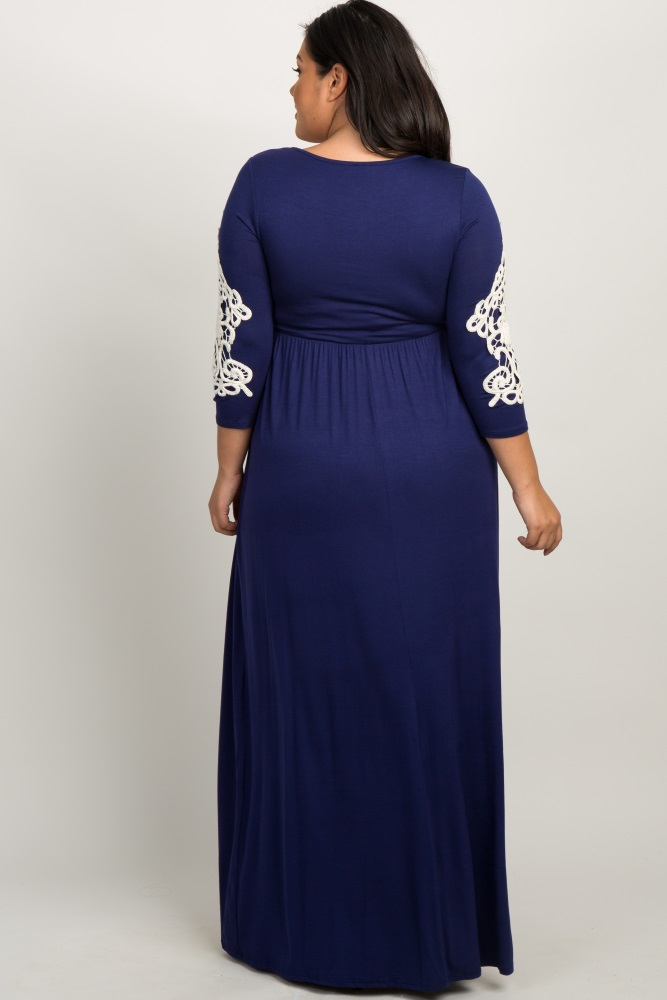 2c9be17dab70b Navy Blue Crochet Sleeve Plus Maternity Maxi Dress