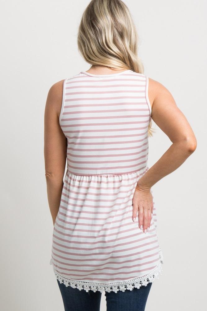 4a704ce1e4480 Light Pink Striped Sleeveless Peplum Maternity Tunic