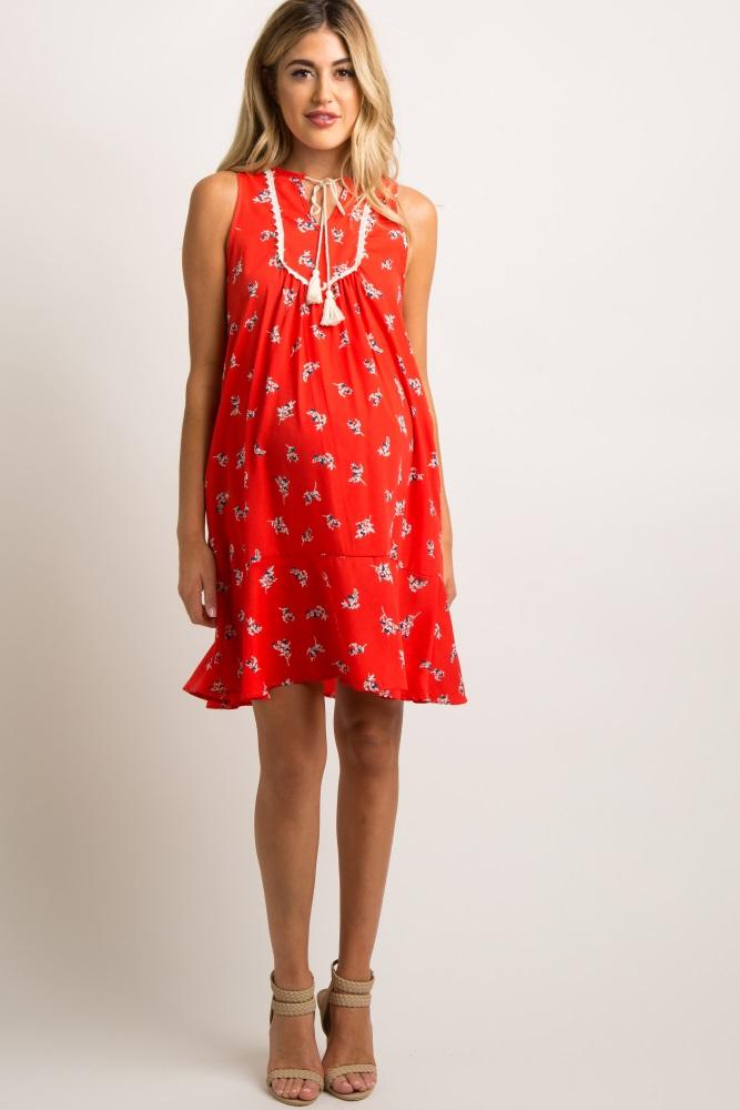 350ac62db51 Red Floral Crochet Tassel Tie Maternity Shift Dress