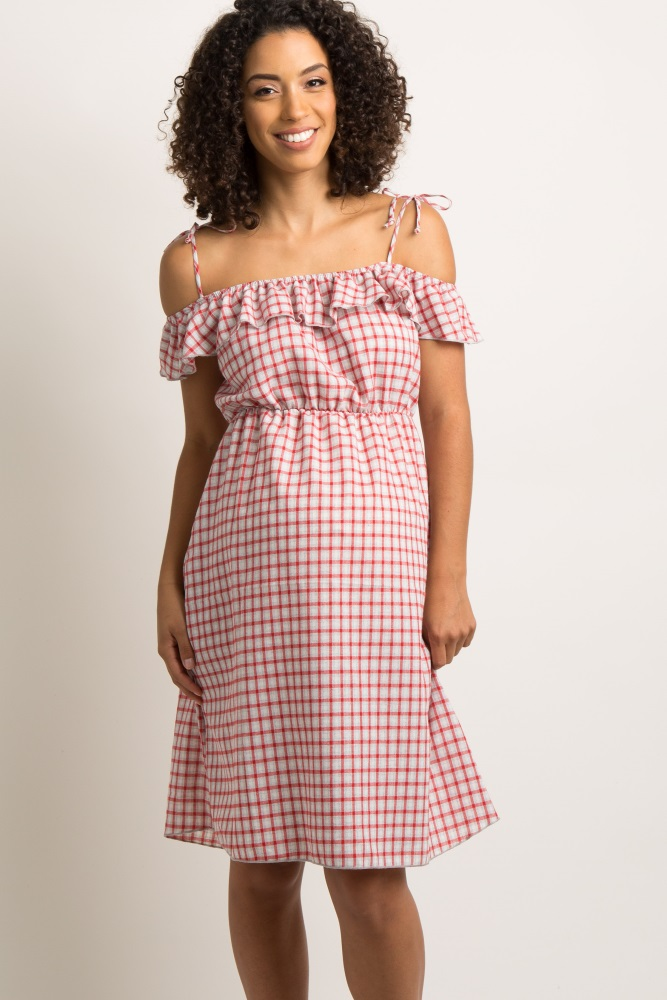 73848416bc6 Red Gingham Open Shoulder Tie Accent Maternity Dress
