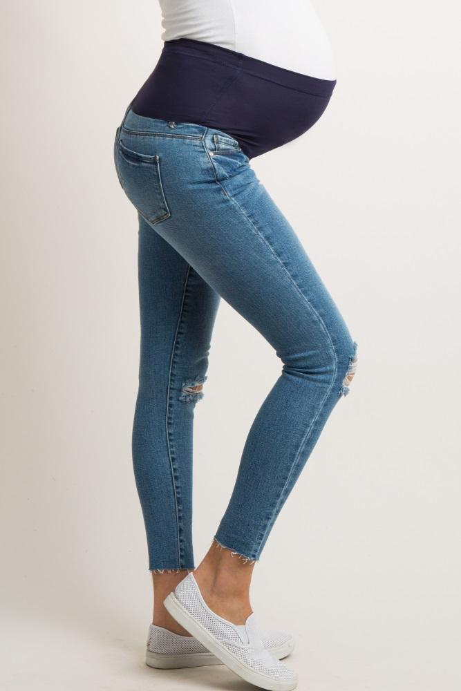 763487e25269e Blue Ripped Knee Raw Cut Maternity Jeans