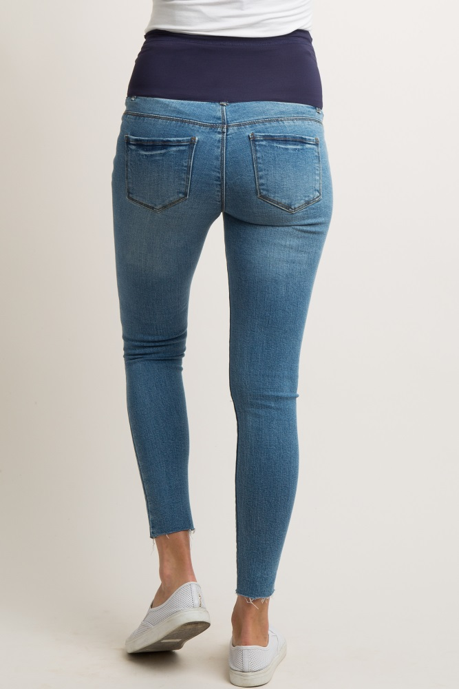 38a2650fd0011 Blue Ripped Knee Raw Cut Maternity Jeans