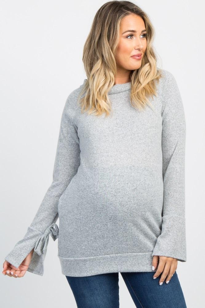 heather grey sleeve tie maternity sweater