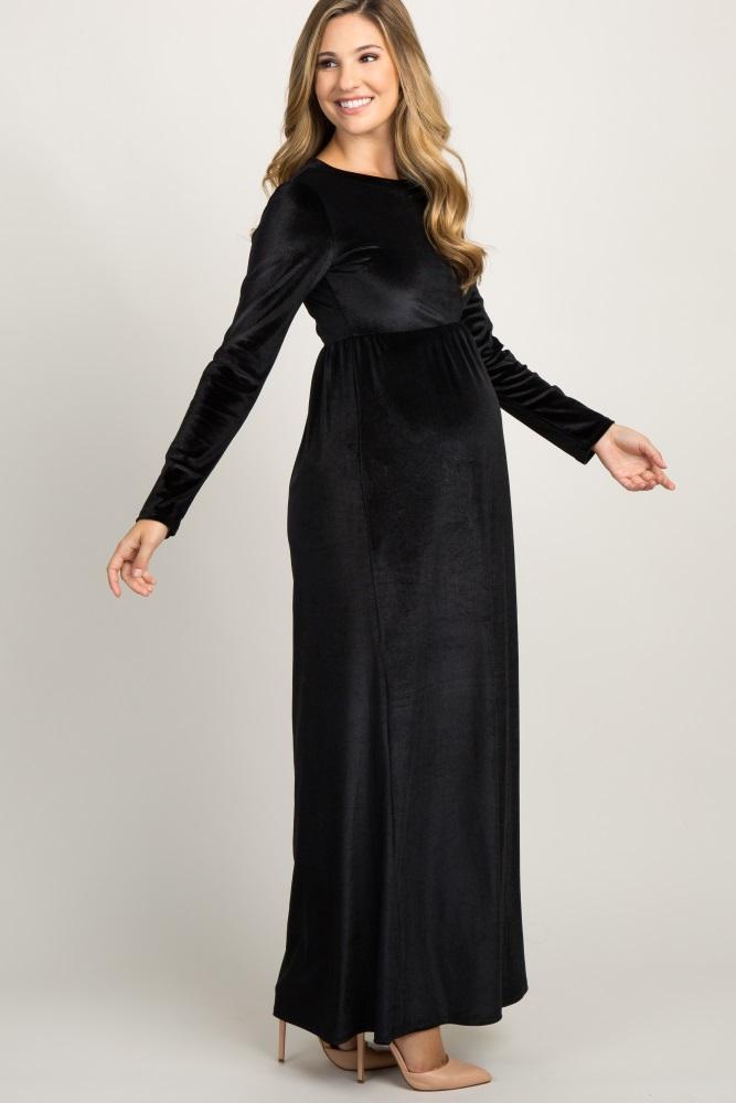 a537e22913e Black Basic Velvet Maternity Maxi Dress