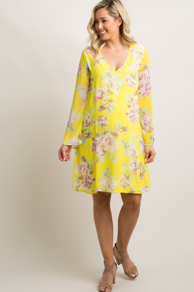 c9c9f0f49dd Petite Yellow Floral Chiffon Maternity Shift Dress