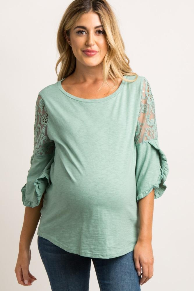 964e93e7613235 Mint Green 3/4 Lace Sleeve Maternity Top