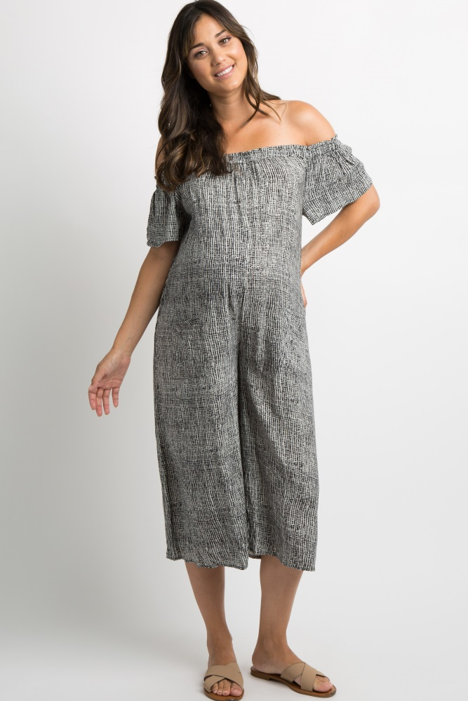 48e9b756adad Black Printed Off Shoulder Cropped Maternity Jumpsuit