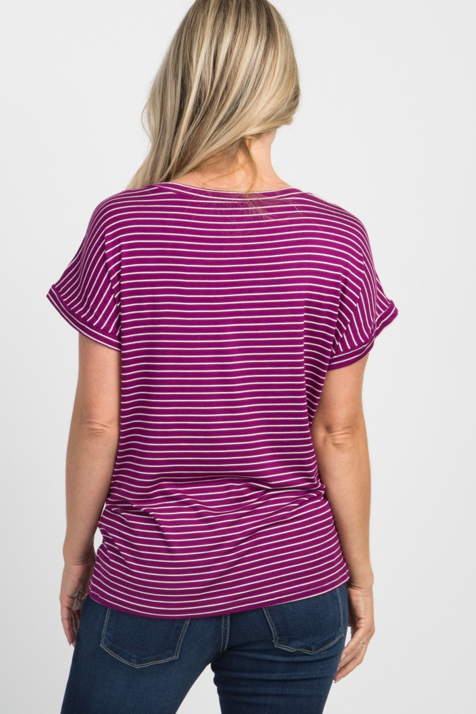 40c1c6953dc06 Purple Striped Pocket Maternity Tee Shirt