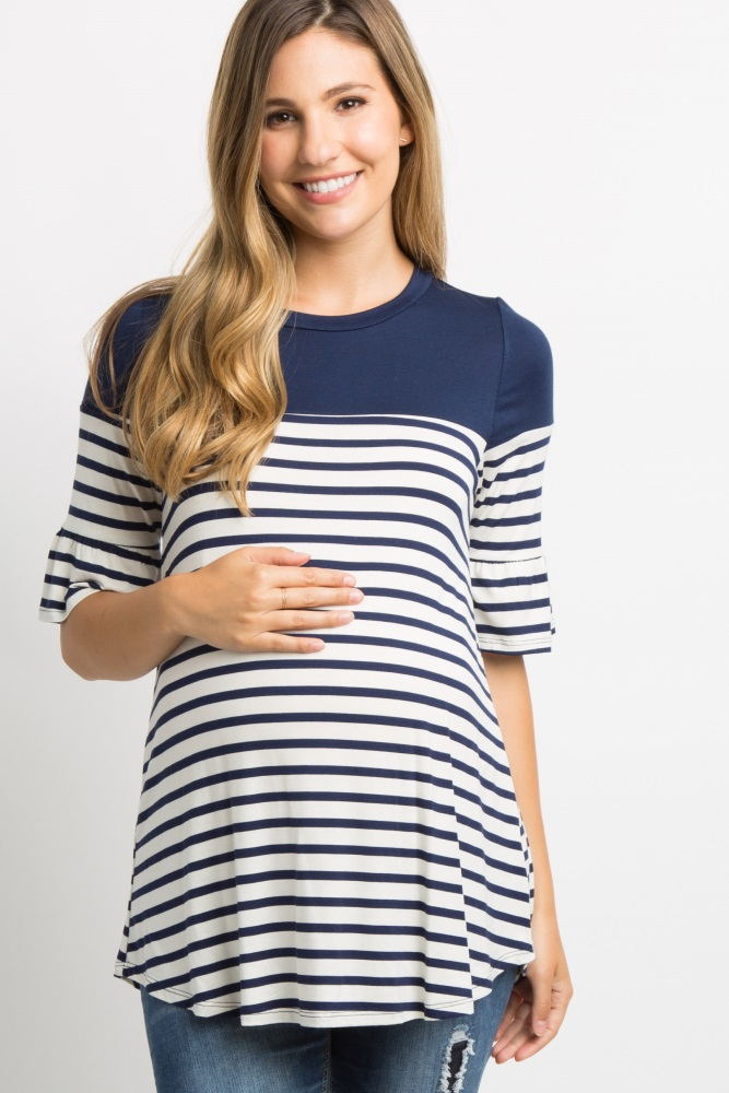9d686a141906a Navy Blue Striped Colorblock Ruffle Sleeve Maternity Top