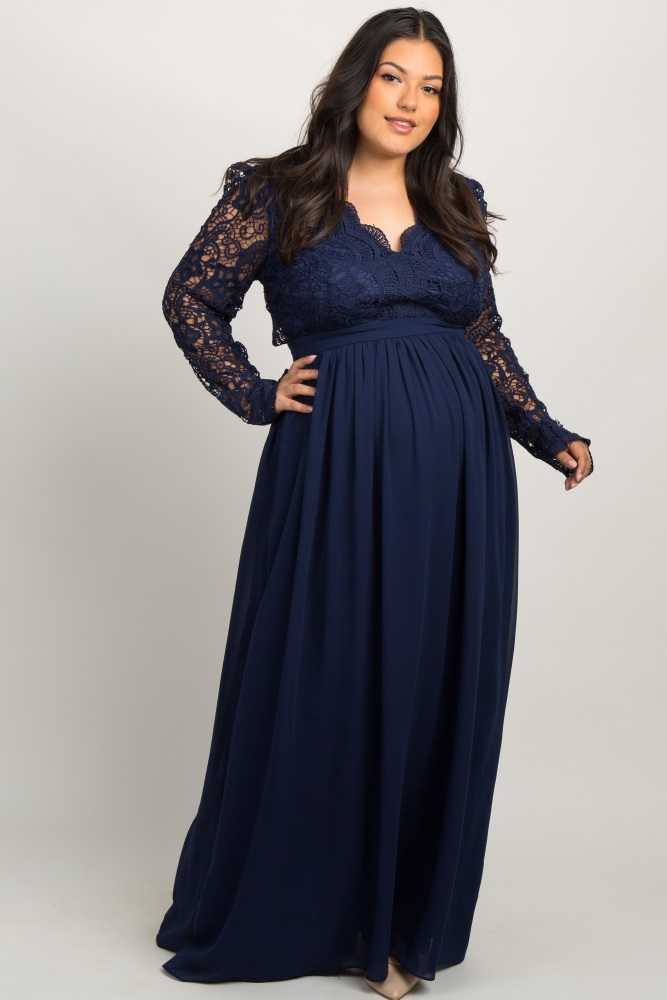 Navy Scalloped Crochet Chiffon Plus Maternity Evening Gown