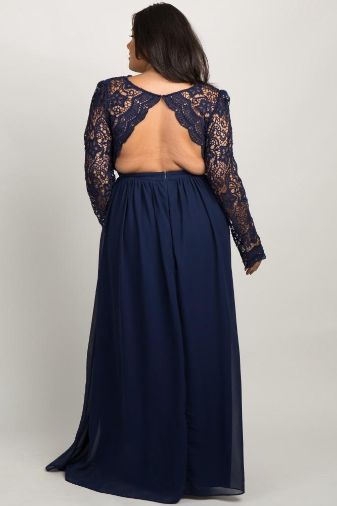 7e931f355220a Navy Scalloped Crochet Chiffon Plus Maternity Evening Gown