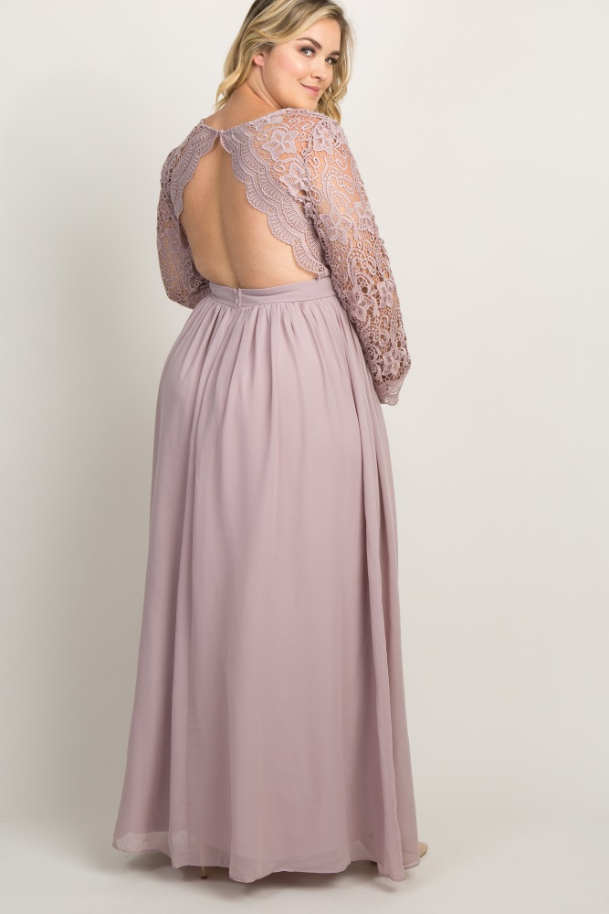 caaf79286bcaf Taupe Scalloped Crochet Chiffon Plus Maternity Evening Gown