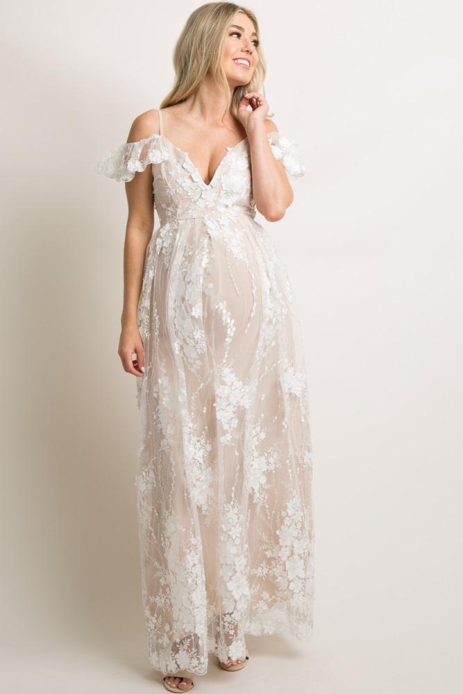 d2f7f7897 Ivory Floral Embroidered Mesh Maternity Evening Gown