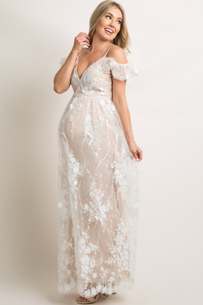 6e53c455ef8b9 Ivory Floral Embroidered Mesh Maternity Evening Gown