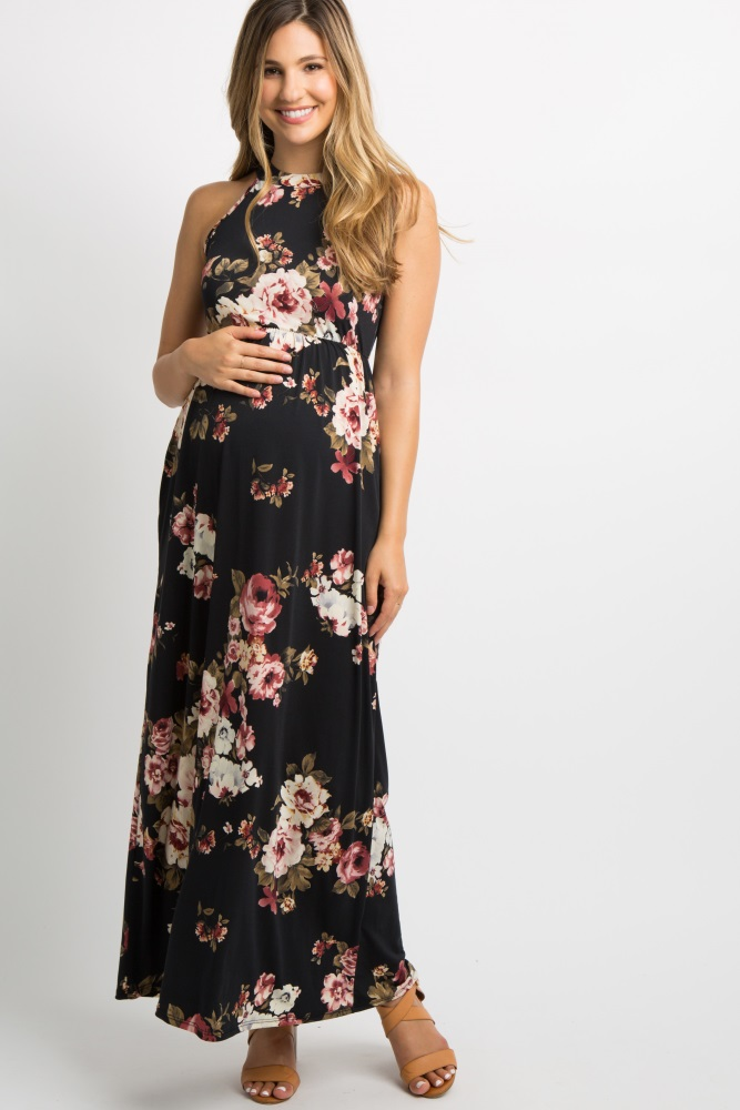62f28cb229f Black Floral Halter Neck Maternity Maxi Dress