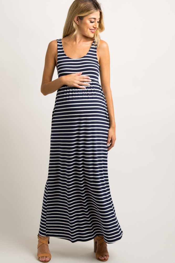 33abceb798a7d Navy Blue Striped Sleeveless Maternity Maxi Dress