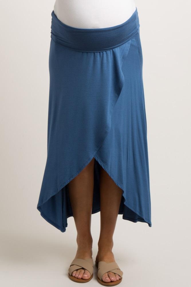 83d5ff0708c4 Navy Hi Low Maternity Wrap Skirt