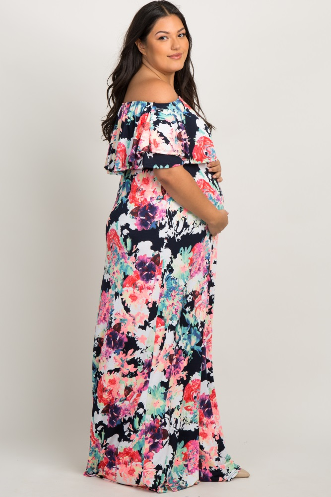 484c308a2f1 Navy Neon Floral Flounce Off Shoulder Maternity Plus Maxi Dress