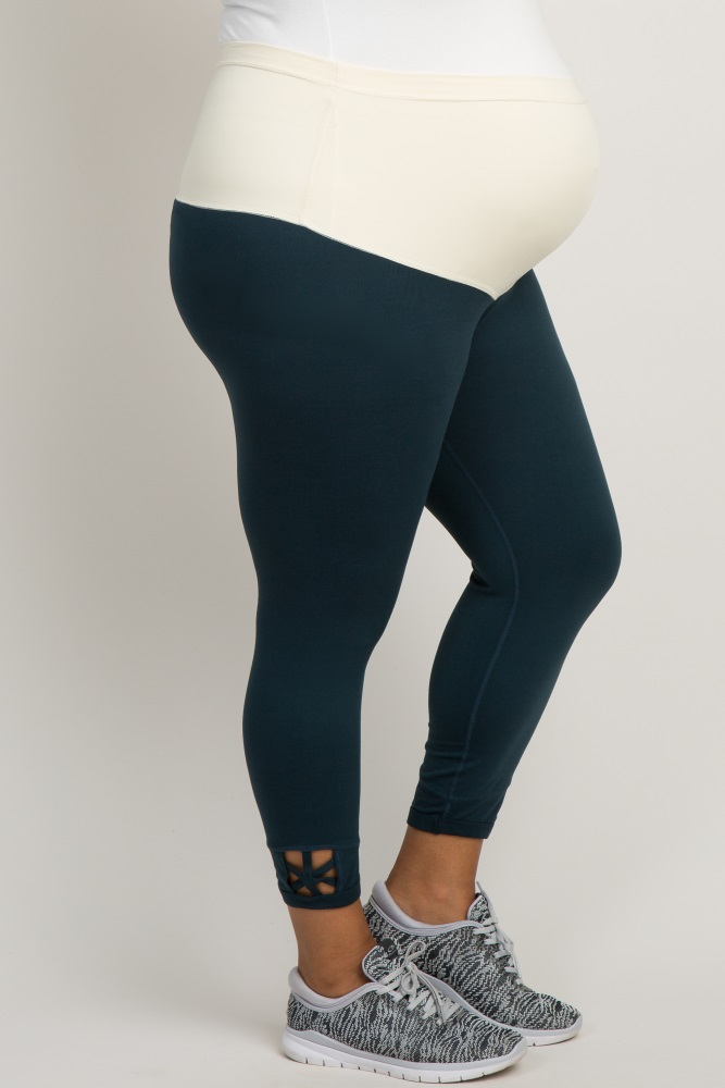 3323ea9a7af3d2 Teal Active Star Accent Cropped Plus Maternity Leggings