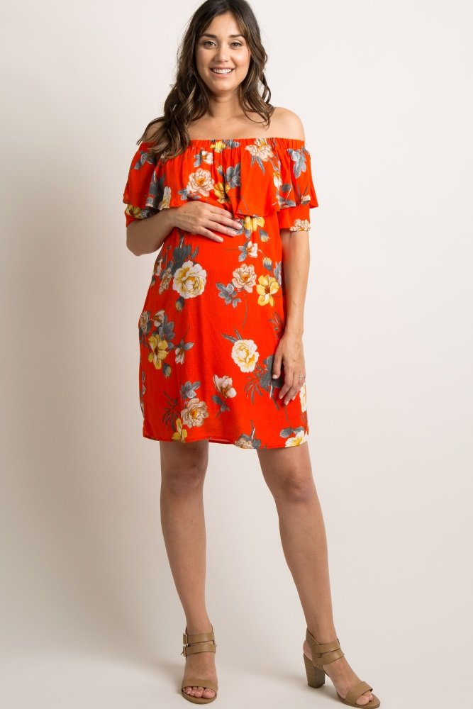 fe8fe5fabfe Red Floral Off Shoulder Ruffle Maternity Dress