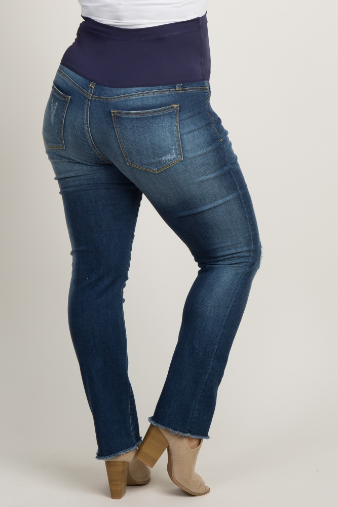 dc3a63bbf7c14 Blue Faded Ripped Knee Frayed Plus Maternity Jeans