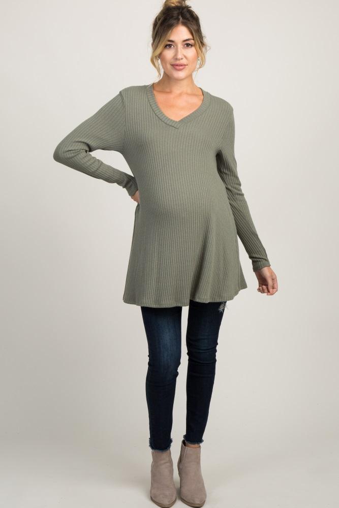 b98812a86e3d6 Olive Ribbed Knit V Neck Maternity Tunic