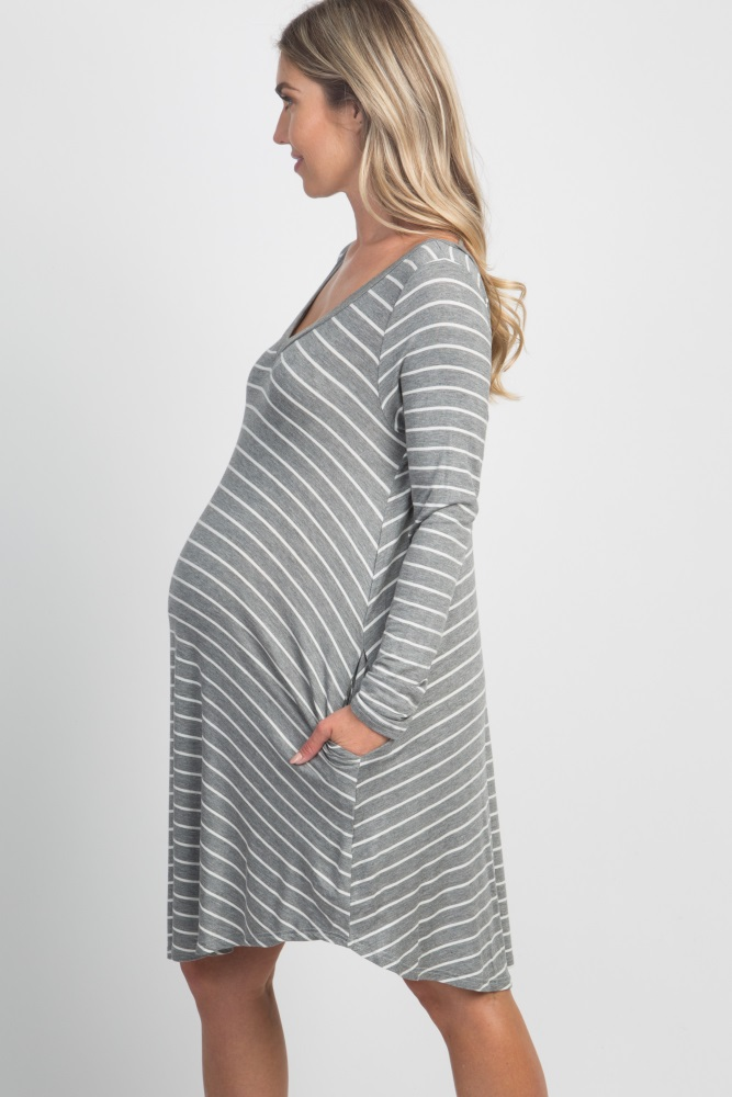 302816da1ca38 Grey Striped Long Sleeve Pocket Maternity Dress
