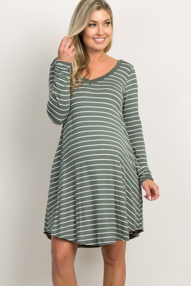 3fbebf9b6d47b Green Striped Long Sleeved Pocket Maternity Dress
