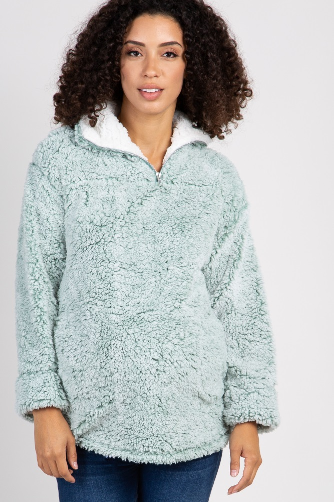 ccc1c72f36267 Mint Green Fuzzy Zip Up Maternity Sweater
