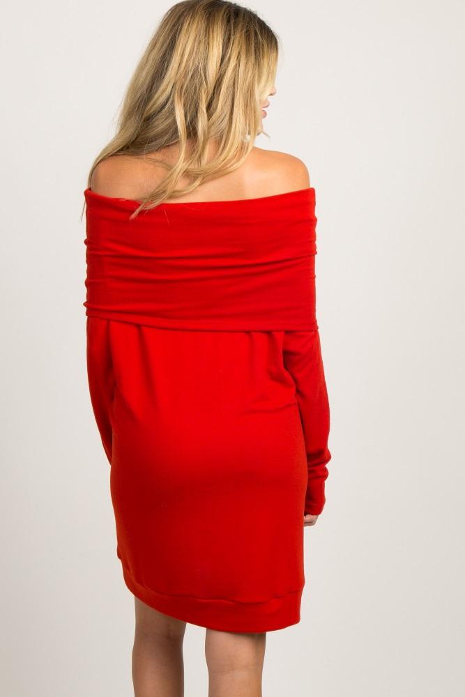 f4c58f33c79cf Red Foldover Off Shoulder Knit Maternity Dress