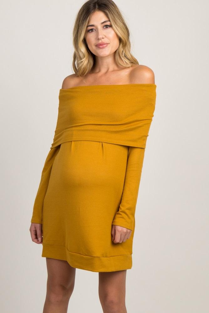 0b18cade09a3e Mustard Foldover Off Shoulder Knit Maternity Dress