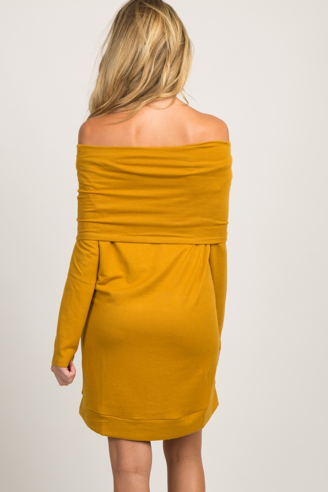 f4b83d80d2179 Mustard Foldover Off Shoulder Knit Maternity Dress