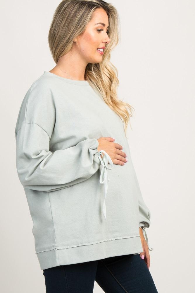 b677985ef87c8 Mint Green Sleeve Tie Maternity Sweater