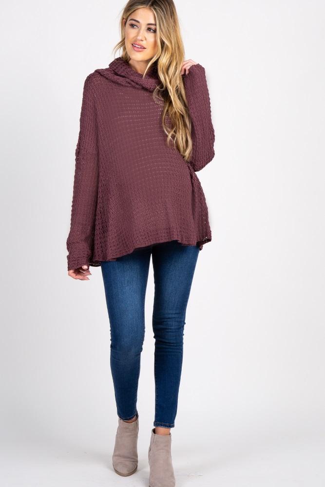 5cc96a4cec1c Burgundy Open Knit Cowl Neck Maternity Sweater