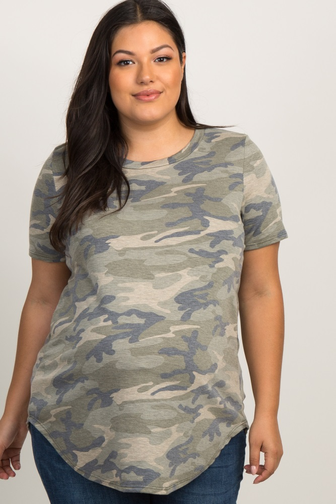 Olive Green Faded Camo Print Plus Maternity Top